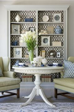Bookcase with Wallpaper